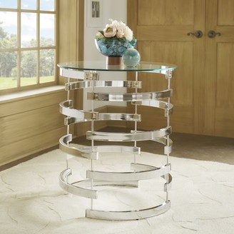 Weston Home Bayport Round Glass Entryway Accent Table With Open Base