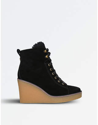 UGG Ladies Black Contrast Stylish Kiernan Suede And Sheepskin Wedged Ankle Boots