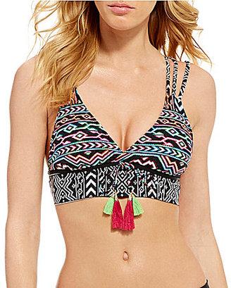 La Blanca La Azteca Strappy Tassel Midkini Top $75 thestylecure.com