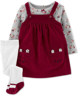 Carter's Carter Baby Girls 3-Pc. Floral-Print T-Shirt, Corduroy Mice Jumper & Footed Tights Set