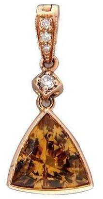 14K Rose Gold with 1.89ct Precious Topaz & Diamond Triangle Vintage Enhancer Pendant