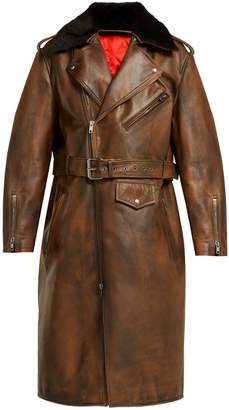 Calvin Klein Shearling-collar leather coat
