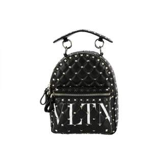Valentino GARAVANI Backpack Rockstud Spike Small Backpack In Quilted Nappa Leather With All Over Studs And Vltn Print