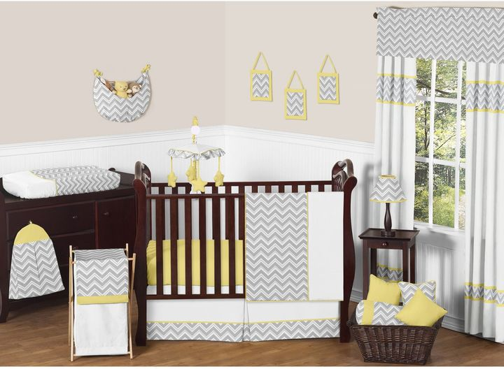 JoJo Designs Sweet Zig Zag Chevron Crib Bedding Collection in Grey/Yellow