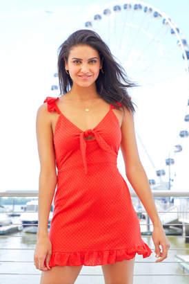 MinkPink Laurel Knot Front Mini Dress Red L
