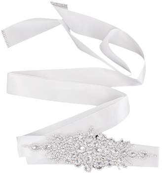 Generic Bridal Wedding Dress Belt Sash Crystal Rhinestone Sparkle Ribbon Tie 5 Colors - White