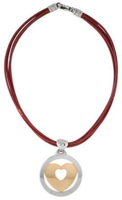 Bvlgari Two-Tone Tondo Heart Pendant Necklace Red Two-Tone Tondo Heart Pendant Necklace