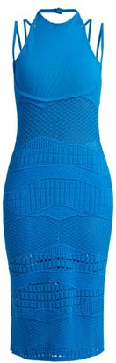 Esteban Cortazar Sleeveless Crochet Knit Cotton Blend Dress - Womens - Blue