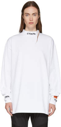 Heron Preston White Long Sleeve Mock Neck Style T-Shirt