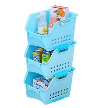 Honla Set of 3 Scoop Stackable Plastic Storage Baskets/Stacking Bins Organizer with Handles