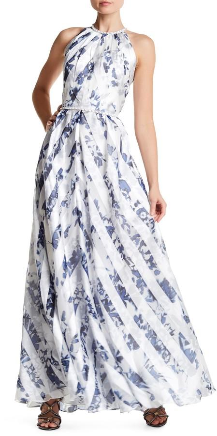 Carmen Marc ValvoCarmen Marc Valvo Embellished Floral Halter Gown