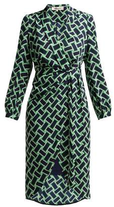 Diane von Furstenberg Carla Wrap Dress - Womens - Black Green