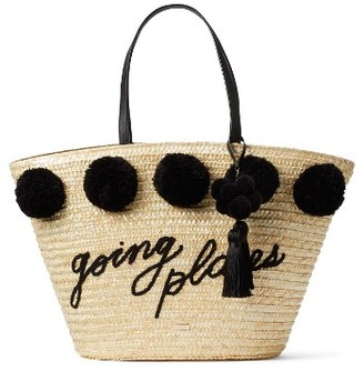 Kate Spade New York Lewis Way Pompom Tote - Black $298 thestylecure.com