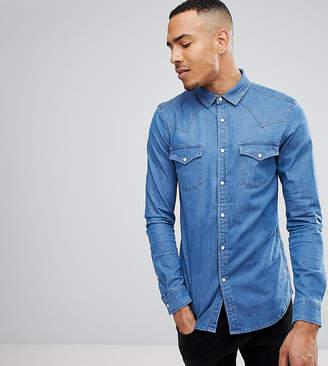Asos Design Tall Skinny Denim Western Shirt In Mid Wash