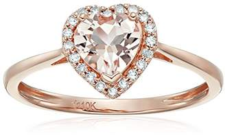 10k Rose Gold Morganite and Diamond Solitaire Heart Halo Engagement Ring (1/10cttw