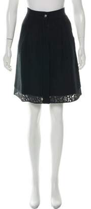 Chanel Tweed Lace-Trimmed Skirt Black Tweed Lace-Trimmed Skirt