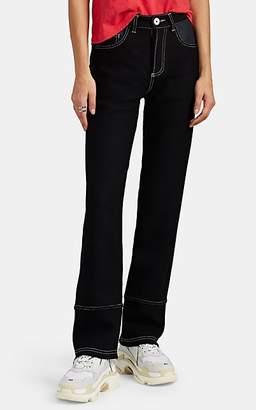 LE KILT Women's Denim-Inset Wool Tweed Straight Trousers - Black