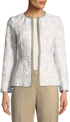 Lafayette 148 New York Damien Zip-Front Jacquard Jacket