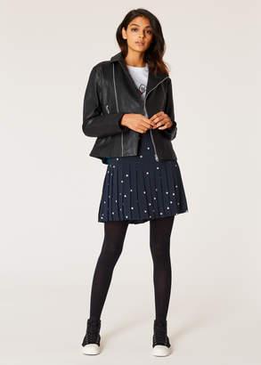 Paul Smith Women's Navy Polka Dot Pleated Skirt