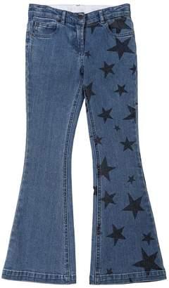 Stella McCartney Star Print Flared Stretch Denim Jeans