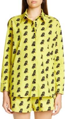 Ashley Williams Cat Print Reba Button-Up Shirt