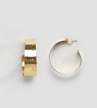 Made hammered gold open hoop earrings