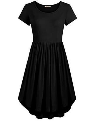 Cyanstyle Women's Short Sleeve High Waist Summer Casual Loose T-Shirt Midi Dress