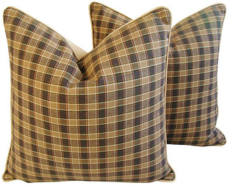 One Kings Lane Vintage Camel Check Plaid Pillows - Pr