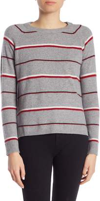 Minnie Rose Cashmere Striped Crew Neck Pullover