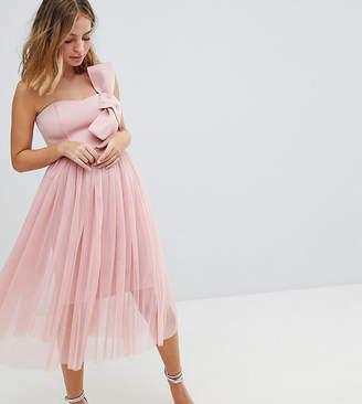 Asos PREMIUM Scuba Bow Front Tulle Midi Dress