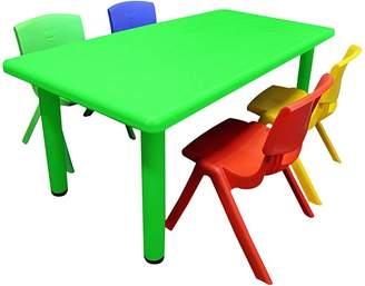 OliandOla Primary Kids' 5-Piece Rectangular Table & Chair Set, Multicoloured, Green