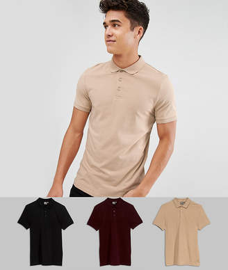 Asos DESIGN muscle fit jersey polo 3 pack SAVE