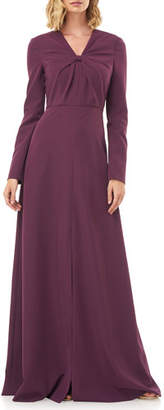 Kay Unger New York Mia V-Neck Long-Sleeve Stretch Crepe Gown w/ Front Knot