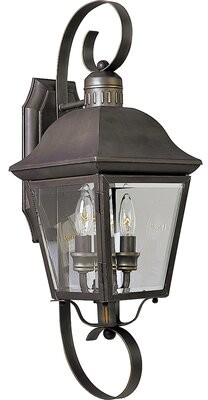 Alcott Hill Triplehorn 2-Light Outdoor Nickel Wall Lantern Alcott Hill