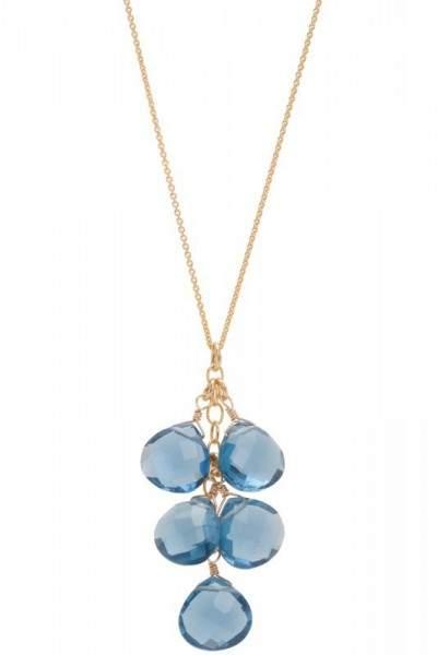 Styleserver DE David Aubrey Halskette mit blau-grauem Quarz-Cluster