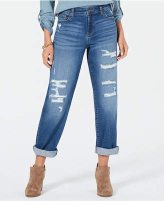 Style&Co. Style & Co Destructed Curvy-Fit Boyfriend Jeans