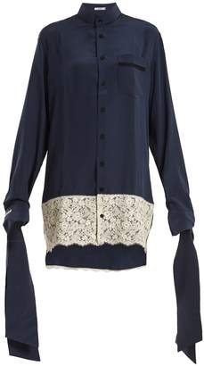 BLOUSE Tessa tie-cuff silk-crepe oversized shirtdress