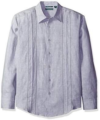 Cubavera Men's Long Sleeve 100% Linen Shirt with Box Pleat Tucking and Eyelets