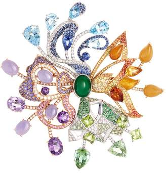 Lorenz Bäumer Diamond gemstone jade 18k gold openwork brooch