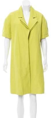 Lela Rose Linen-Blend Short Sleeve Coat