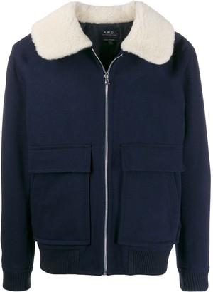 A.P.C. contrast-collar bomber jacket