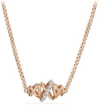 David Yurman Crossover Single Station Necklace With Diamonds In 18K