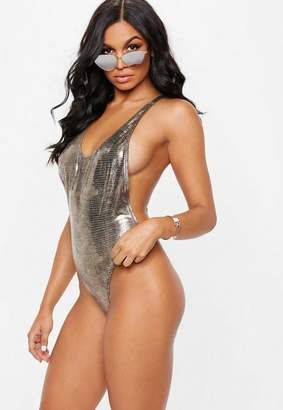 Missguided Metallic Snake Cut Out Thong Swimsuit