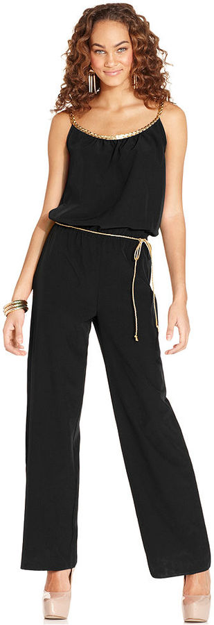 6 Degrees Juniors Jumpsuit, Sleeveless Braided Wide-Leg