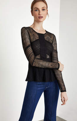 BCBGMAXAZRIA Mixed Lace Peplum Top