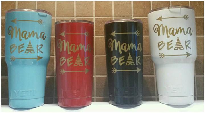 Etsy YETI - Authentic MAMA Bear Mother's Day Yeti Cup 20 oz OR 30 oz Rambler Tumbler Powder Coated Large