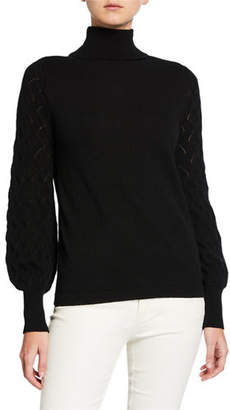 Neiman Marcus Blouson-Sleeve Turtleneck Cashmere Sweater