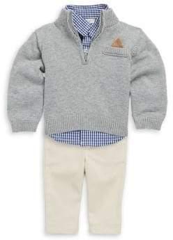 Baby Boy's Cotton Three-Piece Button-Down Checker Shirt, Rib-Knit Sweater & Pants Set