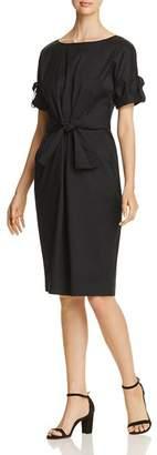 Donna Karan Ruched Tie-Front Dress