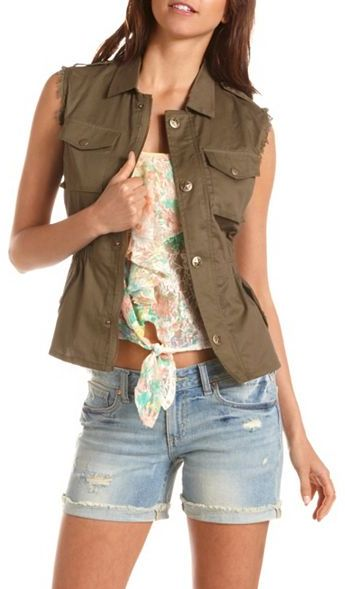 Charlotte Russe Lace Back Military Vest